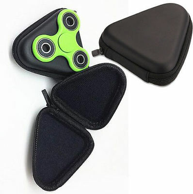 BLACK Fidget Hand Spinner Triangle Finger Toy Case for Focus ADHD Autism Box Bag