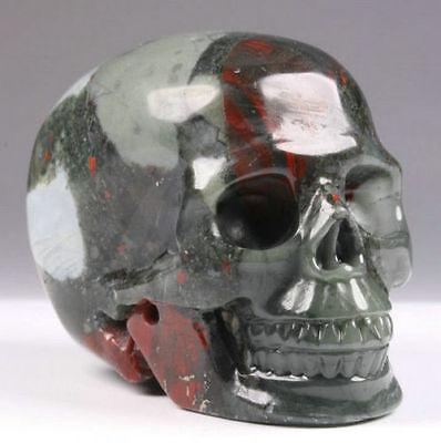 "2.2"" Genuine African Bloodstone Hand Carved Crystal Skull, Realistic,Healing #65"