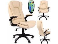 CREAM RECLINING MASSAGE FAUX LEATHER OFFICE DESK TABLE COMPUTER EXECUTIVE CHAIR
