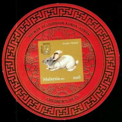 [SJ] Children Pets Malaysia 2011 Rabbit Lunar (ms o/p imperf) MNH *gold stamping