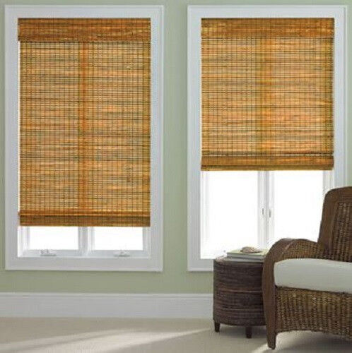 NEW Natural Bamboo Woven Wood Roman Shade/Blind Window Treatment NIB