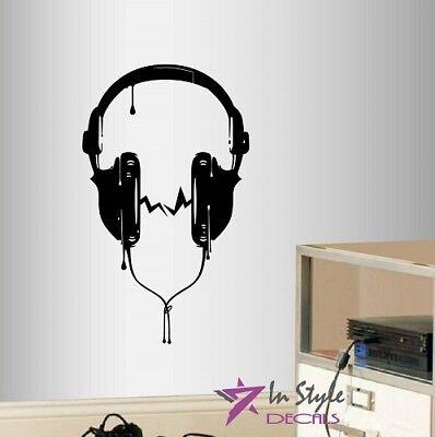 (Vinyl Decal Headphones Sound Music Audio Teen Bedroom Any Room Wall Sticker 2135)