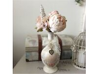 Shabby Chic Vase with Peach Peonies and Antique Bronze Heart Charm - Ideal Gift