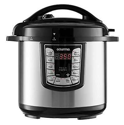 Gourmia GPC625 Stylish Pot Multifunction Stainless Steel Pressure Cooker 6 Qt.