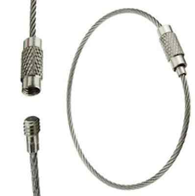(TUFFTAAG Silver Tough Stainless Steel Wire Luggage Tag Loops Key Ring - 5pk)