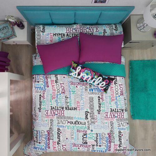 PHRASES TEENS Comforter Sheets Sets FULL Bedding GIFT Beddin