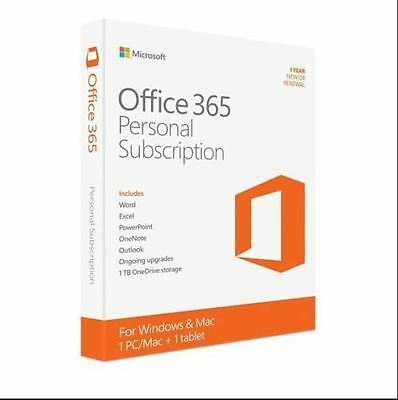 Microsoft Office 365 Personal 32 64 Bit 1 Year Subscription Word  Excel  Outlook
