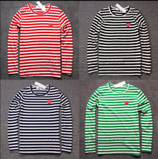 * STRIPED MEN'S WOMEN COMME DES GARCONS CDG PLAY RED HEART LONG SLEEVE T-SHIRT