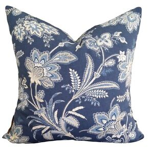 Barano Jacobean Floral Cotton Blue Beige Vintage Designer Cushion Pillow Cover