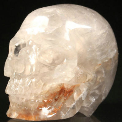 2.1 IN Genuine Gray Quartz Carved Crystal Skull, Realistic, Crystal Healing #903