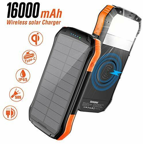 Solar Charger,Soxono 16000mAh Power Bank with Qi Wireless Or