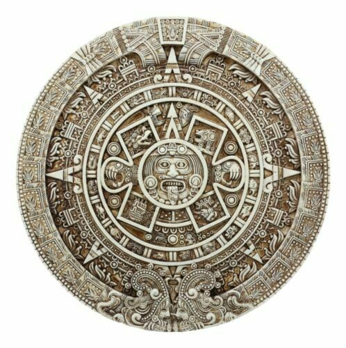 Aztec Maya Solar Sun Xiuhpohualli & Tonalpohualli Wall Calendar Plaque Figurine