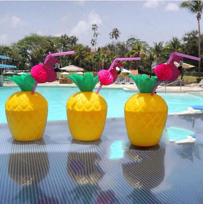 24 x Hawaiian Tropical Plastic Pineapple Punch Drink Cups & Pink Flamingo Straws - Plastic Punch Cups