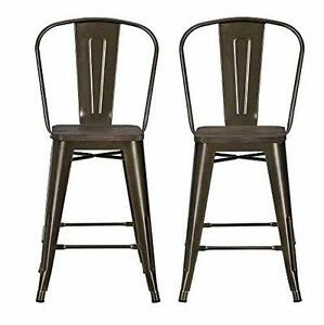 New, Set of 2 DHP Luxor Metal Counter Stool With Wood Seat DI19