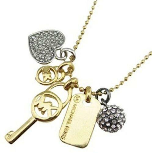 en store michaelks necklace michael rakuten kors item global plate strand tone market heart witusa pendant mkne double gold dual