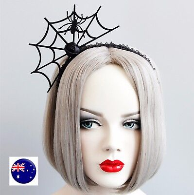 Women Girls Halloween Black Spider Net Horror Costume Party Hair headband Prop