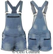 Womens Denim Dungarees Shorts