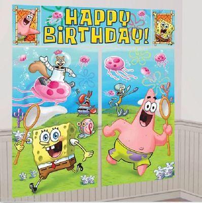 NEW Sponge-Bob WALL POSTER Decoration Kit Scene Setter Birthday Party Supplies~