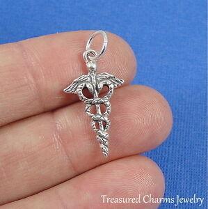 .925 Sterling Silver MEDICAL CADUCEUS CHARM Medical Symbol Doctor Nurse PENDANT