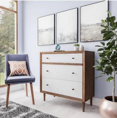 Chest 3 Drawer Dresser Nightstand Mid Century Modern Retro Walnut White (3 Drawer Mid Chest)