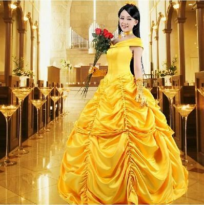 Adult Princess Belle Costume Beauty and The Beast Fancy Dress US Ship](Belle Adult Dress)