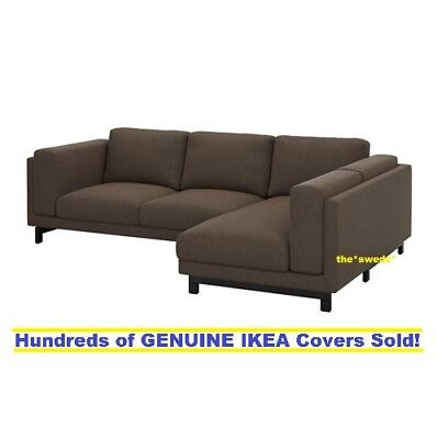 Ikea Nockeby Sofa With Chaise Right Cover Slipcover Teno Brown New Sealed