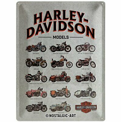 Harley Davidson Models Tin Sign - Nostalgic Retro Home Garage Plaque