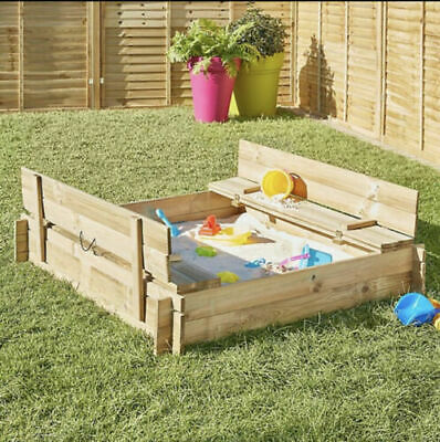NEW SOLID WOOD Sandpit Picnic Table Play Kids Garden Sand Pit