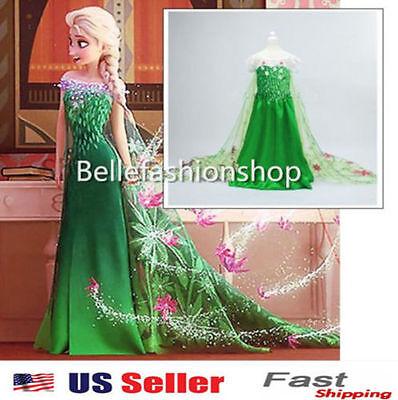 NEW Girls Disney Elsa Frozen dress costume Princess Anna party cosplay K28