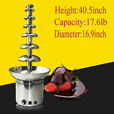 "7 Tiers Chocolate Fountain Fondue Stainless Steel 40.5"" High"