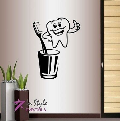 Wall Vinyl Decal Smiling Happy Tooth Bathroom Dentist Dental Office Cabinet 513 for sale  Shipping to India