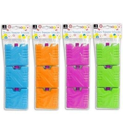 Set of 3 Pink Mini Ice Brick Pack Block Blocks Freezer Cooler Bag Box Travel