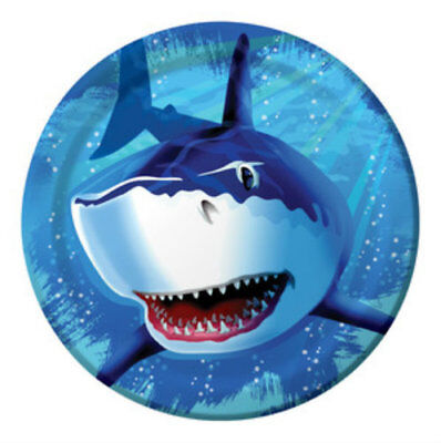 Shark Splash Dinner Plates - Birthday Party Supplies - Shark Birthday Supplies