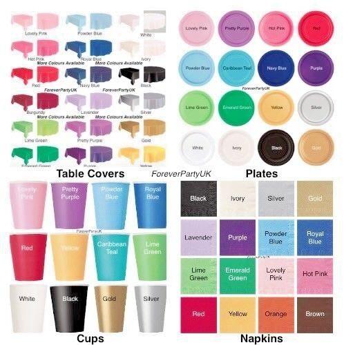 Plain Solid Colour Tableware Disposable Napkins Plates Cups Christmas Party