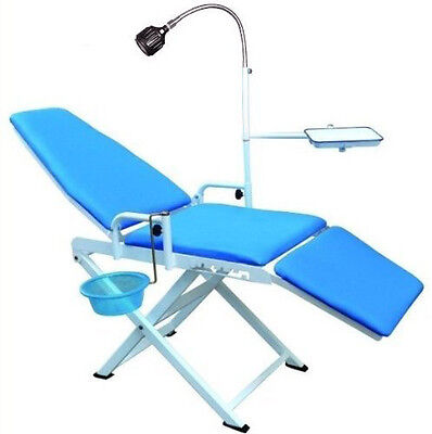 New Updated Portable Folding Dental Chair Cuspidor Tray Mobile Equipment Blue