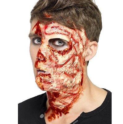 Halloween Kostüm Latex Verbranntes Gesicht Narbe Effekt Make-Up von Smiffys Neu