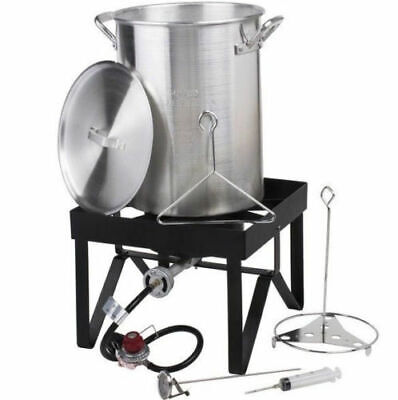 30 Qt Aluminum Turkey Deep Fryer Kit Stock Pot Propane LP Outdoor Range Burner Aluminum Stock Pot Kit