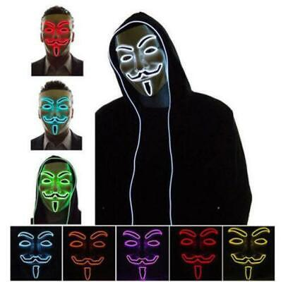 LED El Light Up Mask V for Vendetta Anonymous Guy Fawkes Costume Cosplay Props - El Costumes