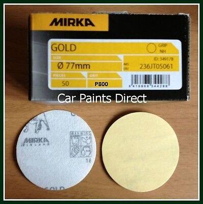 "50 Mirka Gold 3"" 77mm Sanding Discs P800 Grit (Velcro No Holes)"