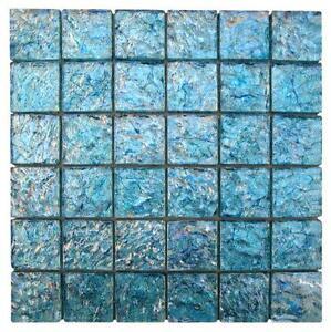 aqua glass mosaic tiles