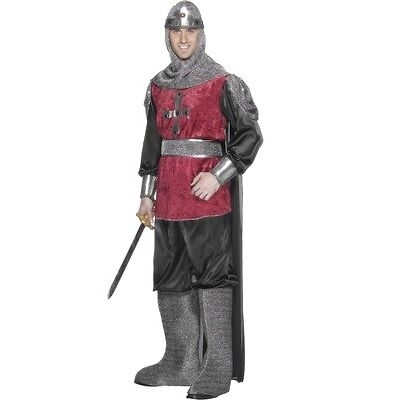 Mens Medieval Knight Fancy Dress Costume England St George By Smiffys