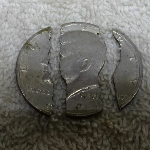 ** Very Unique - 1971 KENNEDY HALF Dollar - cut in 3 pieces For magic trick ??-