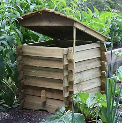 Large Wooden Composter Beehive Leaves Recycling Garden Waste Bin Box Soil 330L