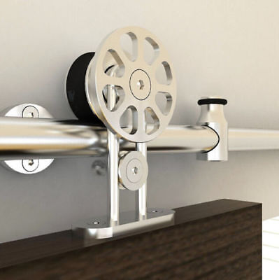 9 FT Single Stainless Steel Sliding Barn Wood Door Hardware Kit Closet Interior