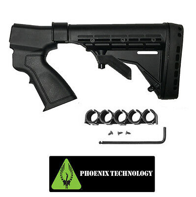 Phoenix 6 Pos Tactical Shotgun Stock+ Shell Carrier FST07 for REMINGTON 870 20GA