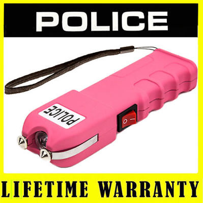 Police Stun Gun Rechargeable 928 Pink 78 Bv With Led Flashlight Taser Case