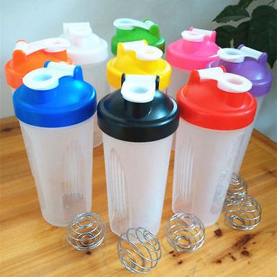 Beverage Shaker - 400/600ml BPAfree Shake Blender Shaker Mixer Cup Drink Whisk Ball Bottle New US