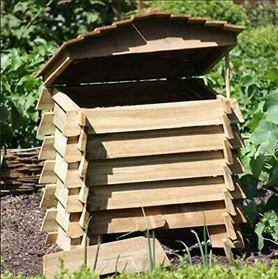 Large 330L Wooden Composter Beehive Style Recycling Garden Waste Bin Box Soil