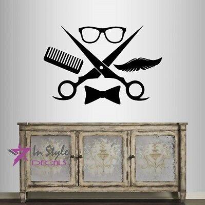 Wall Vinyl Sticker Decals Mustache Haircut Salon Hairdresser Barber Shop Z3085