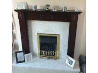 Marble Hearth and Backing with Wooden Surround